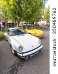 GRANTOWN ON SPEY, SCOTLAND - SEPTEMBER 6: Classic Porsche 911 Carrera line up on September 6, 2015 in Grantown On Spey, Scotland - stock photo
