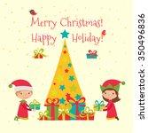 christmas vector illustration.... | Shutterstock .eps vector #350496836