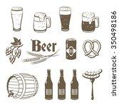 set of monochrome  lineart food ... | Shutterstock .eps vector #350498186