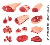 set of cartoon food  meat cuts... | Shutterstock .eps vector #350498198
