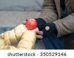 getting food. kind little child ... | Shutterstock . vector #350529146