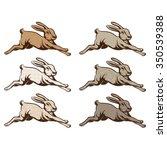 Stock vector vintage illustration of wild rabbit jump 350539388