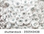 Stock photo wall with a background of paper flowers handmade craft creative abstraction 350543438