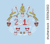 new year doodle card in sweet... | Shutterstock .eps vector #350562002