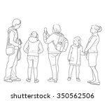 sketch of the group of people... | Shutterstock .eps vector #350562506