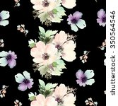 seamless pattern with flowers... | Shutterstock . vector #350564546