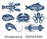 set of seafood logo templates.... | Shutterstock .eps vector #350565446