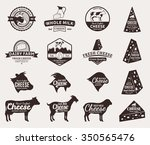 set of cheese logo templates.... | Shutterstock .eps vector #350565476