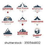 set of vector camping and... | Shutterstock .eps vector #350566832