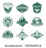 set of vector camping and... | Shutterstock .eps vector #350566916