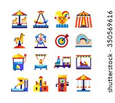 retro amusement park icons set... | Shutterstock .eps vector #350569616