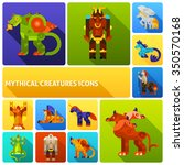 mythical creatures flat long... | Shutterstock .eps vector #350570168