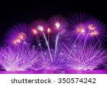 Beautiful Fireworks On Sea.