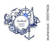 nautical sea symbols... | Shutterstock .eps vector #350574626