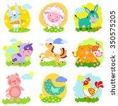 set of farm animals  rabbit ... | Shutterstock .eps vector #350575205
