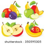 Vector Fruits. Cut Apples ...
