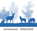 wild animals in the forest... | Shutterstock .eps vector #350610245