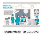 flat design surgery operating... | Shutterstock .eps vector #350613992