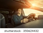 man sitting and driving in the... | Shutterstock . vector #350624432