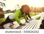 two smiling sportswomen doing...   Shutterstock . vector #350626262