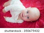 photo cute little girl is four... | Shutterstock . vector #350675432