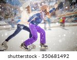 image of two girls ice skating... | Shutterstock . vector #350681492