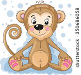 cute cartoon monkey.   Shutterstock .eps vector #350686058
