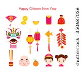 chinese new year icons set ... | Shutterstock .eps vector #350687036