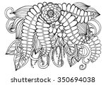 vector doodle flowers in black... | Shutterstock .eps vector #350694038