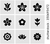 Vector Black Flowers Icon Set....