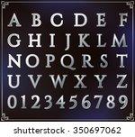silver alphabet set. alphabetic ...   Shutterstock .eps vector #350697062