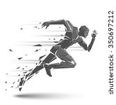 geometric running man | Shutterstock .eps vector #350697212