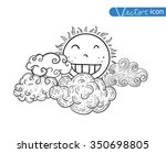 sun with clouds doodle hand... | Shutterstock .eps vector #350698805