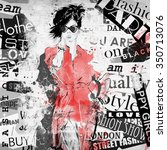 fashion girl in sketch style.... | Shutterstock . vector #350713076