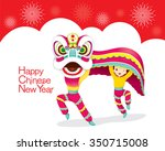 boys with lion dancing frame ... | Shutterstock .eps vector #350715008