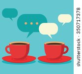 friendly chat over coffee  two... | Shutterstock .eps vector #350717378