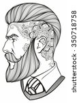 man with beard and tattoo | Shutterstock .eps vector #350718758