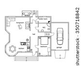 black and white floor plan of a ... | Shutterstock .eps vector #350718842
