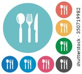 flat restaurant icon set on... | Shutterstock .eps vector #350719982