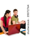 friends are doing homework ... | Shutterstock . vector #35072764