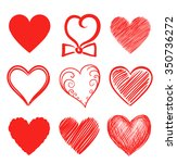 set of abstract heart shapes.... | Shutterstock .eps vector #350736272
