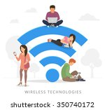 young man sitting on the wi fi... | Shutterstock . vector #350740172