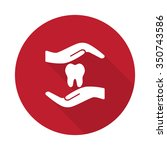 Flat Dental Care Icon With Lon...