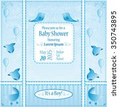baby shower card  its a boy | Shutterstock .eps vector #350743895