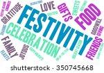 festivity word cloud on a white ... | Shutterstock .eps vector #350745668