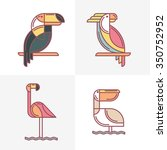 set of vector exotic tropical...   Shutterstock .eps vector #350752952