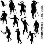 pirate silhouettes | Shutterstock .eps vector #35077006