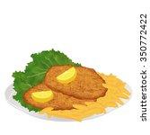 schnitzel with frech fries ... | Shutterstock .eps vector #350772422