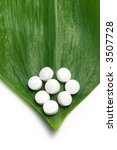 white pills on a green leaf, natural medicine concept - stock photo