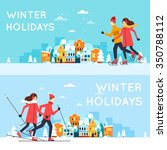 couple skating and skiing.... | Shutterstock .eps vector #350788112